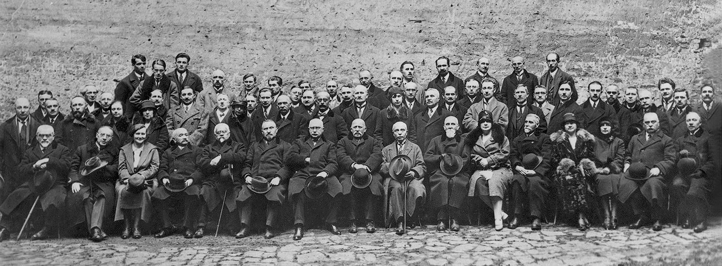 Grupowe zdjęcie członków Naukowego Towarzystwa im. Szewczenki we Lwowie1934 r.