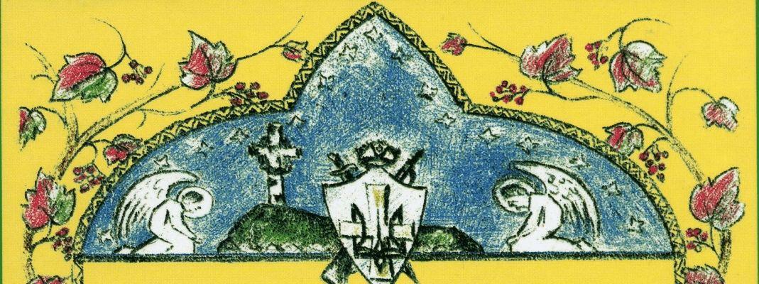 """Wycinek grafiki z okładki książki """"Powstańcze mogiły"""""""