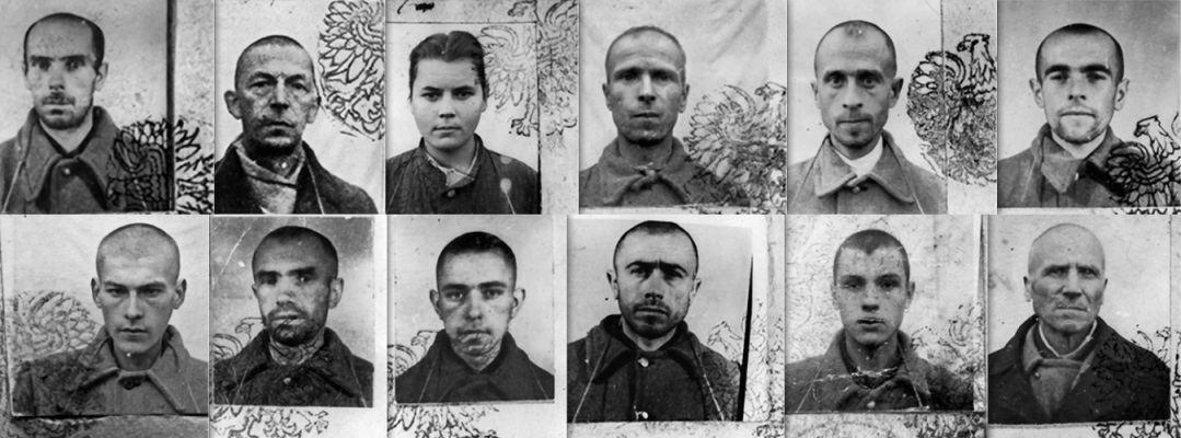 Baner ze skanów zdjęć Ukraińców w obozie koncentracyjnym w Jaworznie
